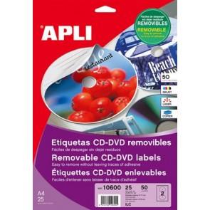 """Etikett, CD/DVD, A4, teljes lefedettségű, matt, eltávolítható, APLI """"Mega"""""""