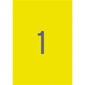 Etikett, 210x297 mm, színes, APLI, neon sárga, 100 etikett/csomag