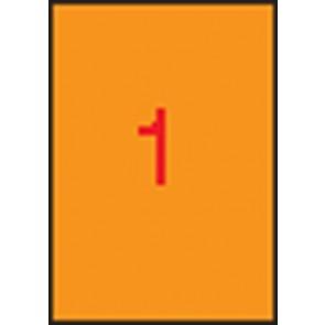 Etikett, 210x297 mm, színes, APLI, neon narancs, 100 etikett/csomag