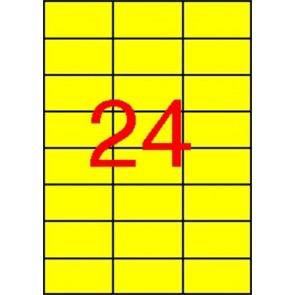 Etikett, 70x37 mm, színes, APLI, sárga, 2400 etikett/csomag