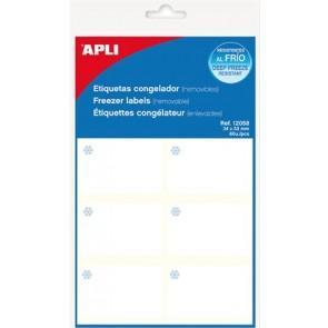 Etikett, 34x53 mm, fagyasztható, kerekített sarkú, A5 hordozón, APLI, 60 etikett/csomag