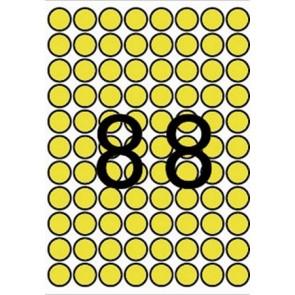 Etikett, 16 mm kör, színes, A5 hordozón, APLI, sárga, 704 etikett/csomag