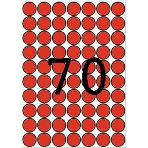 Etikett, 19 mm kör, színes, A5 hordozón, APLI, piros, 560 etikett/csomag