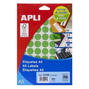 Etikett, 19 mm kör, színes, A5 hordozón, APLI, zöld, 560 etikett/csomag