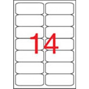 Etikett, 99,1x38,1 mm, poliészter, időjárásálló, kerekített sarkú, APLI, 280 etikett/csomag