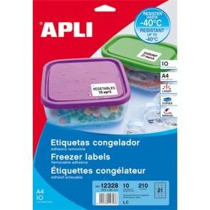Etikett, 63,5x38,1 mm, fagyasztható, kerekített sarkú, APLI, 210 etikett/csomag