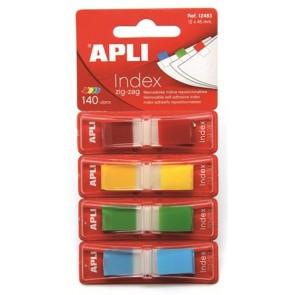 Jelölőcímke, műanyag, 4x35 lap, 12x45 mm, APLI, 4 szín