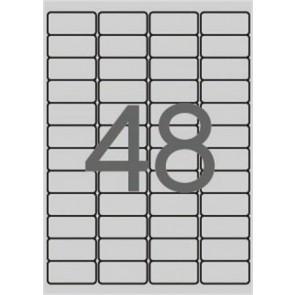 Etikett, 45,7x21,2 mm, poliészter, időjárásálló, kerekített sarkú, APLI, ezüst, 4800 etikett/csomag