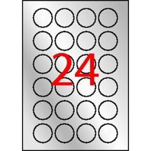 Etikett, 40 mm kör, poliészter, időjárásálló, APLI, ezüst, 480 etikett/csomag