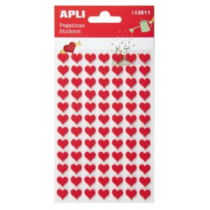 Matrica, filc anyagú, APLI, piros szívek