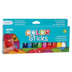 """Tempera stift készlet, APLI """"Kids"""", 12 különböző szín"""