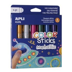 """Tempera stift készlet, toll alakú, APLI """"Kids"""", 6 különböző metál szín"""