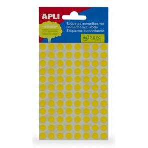Etikett, 8 mm kör, kézzel írható, színes, APLI, sárga, 288 etikett/csomag