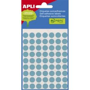 Etikett, 8 mm kör, kézzel írható, színes, APLI, kék, 288 etikett/csomag