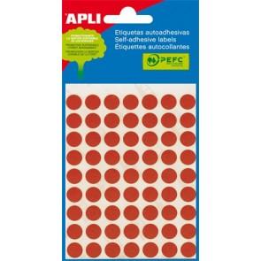 Etikett, 10 mm kör, kézzel írható, színes, APLI, piros, 315 etikett/csomag