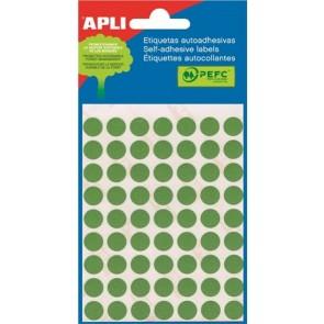 Etikett, 10 mm kör, kézzel írható, színes, APLI, zöld, 315 etikett/csomag