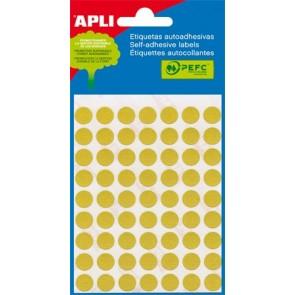 Etikett, 13 mm kör, kézzel írható, színes, APLI, sárga, 175 etikett/csomag