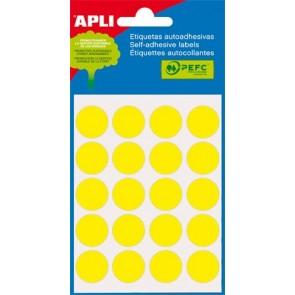 Etikett, 19 mm kör, kézzel írható, színes, APLI, sárga, 100 etikett/csomag
