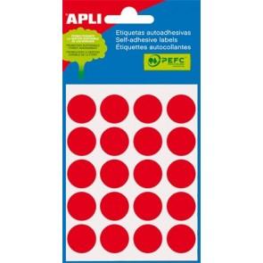 Etikett, 19 mm kör, kézzel írható, színes, APLI, piros, 100 etikett/csomag