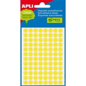 Etikett, 8 mm kör, kézzel írható, színes, APLI, neon sárga, 288 etikett/csomag