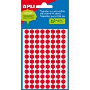 Etikett, 8 mm kör, kézzel írható, színes, APLI, neon piros, 288 etikett/csomag