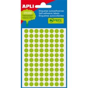 Etikett, 8 mm kör, kézzel írható, színes, APLI, neon zöld, 288 etikett/csomag