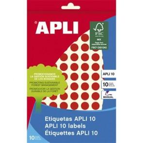 Etikett, 10 mm kör, kézzel írható, színes, APLI, piros, 1008 etikett/csomag