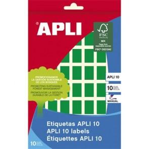 Etikett, 12x18 mm, kézzel írható, színes, kerekített sarkú, APLI, zöld, 448 etikett/csomag