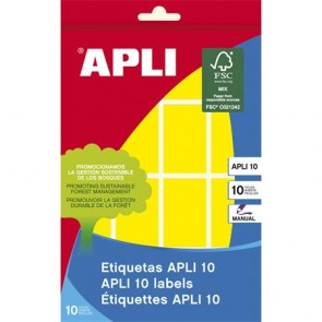 Etikett, 25x40 mm, kézzel írható, színes, kerekített sarkú, APLI, sárga, 128 etikett/csomag