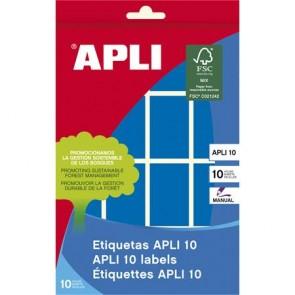 Etikett, 25x40 mm, kézzel írható, színes, kerekített sarkú, APLI, kék, 128 etikett/csomag
