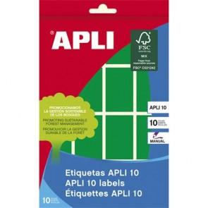 Etikett, 25x40 mm, kézzel írható, színes, kerekített sarkú, APLI, zöld, 128 etikett/csomag