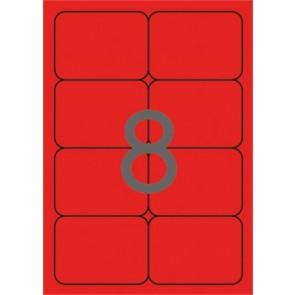 Etikett, 99,1x67,7 mm, színes, kerekített sarkú, APLI, neon piros, 160 etikett/csomag