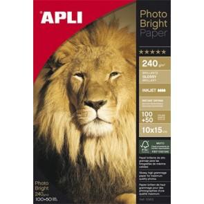 "Fotópapír, tintasugaras, 10x15 cm, 240 g, fényes, APLI ""Photo Bright"""