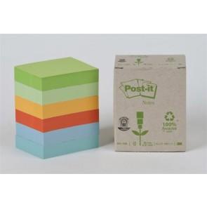 Öntapadó jegyzettömb, 38x51 mm, 6x100 lap, környezetbarát, 3M POSTIT, pasztell szivárvány színek