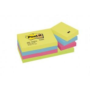 Öntapadó jegyzettömb, 38x51 mm, 100 lap, 3M POSTIT, energikus színek