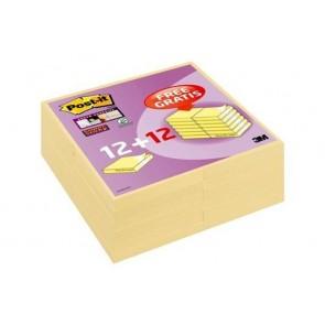 """Öntapadó jegyzettömb csomag, 76x76 mm, 24x90 lap, 3M POSTIT """"Super Sticky"""", kanári sárga"""