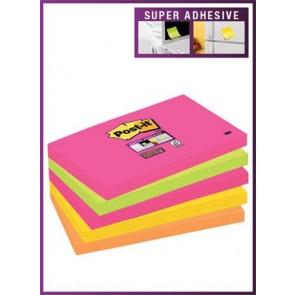 """Öntapadó jegyzettömb, 76x127 mm, 5x90 lap, 3M POSTIT """"Super Sticky"""", szivárványos vegyes"""