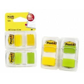 Jelölőcímke,  műanyag, 2x50 lap, 25x43 mm, 3M POSTIT, sárga és zöld