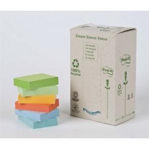 Öntapadó jegyzettömb, 38x51 mm, 24x100 lap, környezetbarát, 3M POSTIT, pasztell szivárvány színek