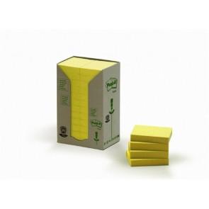Öntapadó jegyzettömb, 38x51 mm, 24x100 lap, környezetbarát, 3M POSTIT, sárga