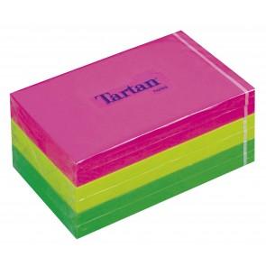 Öntapadó jegyzettömb, 127x76 mm, 100 lap, 6 tömb/cs, TARTAN, vegyes neon színek