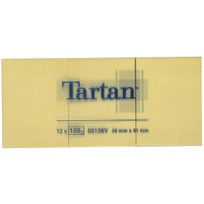 Öntapadó jegyzettömb, 38x51 mm, 100 lap, 12 tömb/cs, TARTAN, sárga