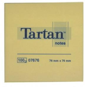 Öntapadó jegyzettömb, 76x76 mm, 100 lap, 12 tömb/cs, TARTAN, sárga