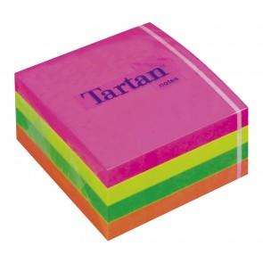Öntapadó jegyzettömb, 76x76 mm, 400 lap, TARTAN, vegyes neon színek
