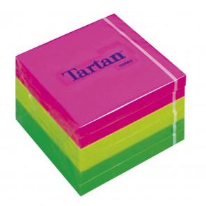 Öntapadó jegyzettömb, 76x76 mm, 100 lap, 6 tömb/cs, TARTAN, vegyes neon színek