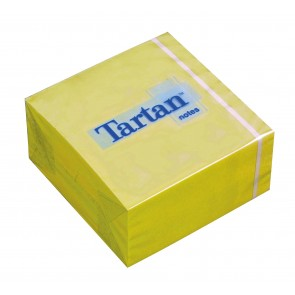Öntapadó jegyzettömb, 76x76 mm, 400 lap, TARTAN, sárga