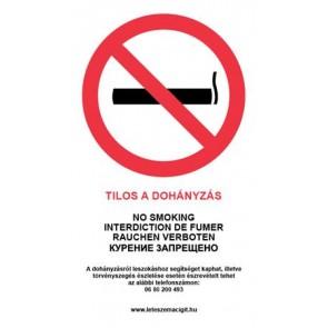 """Információs matrica, 4 nyelven, """"Tilos a dohányzás"""""""