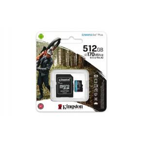 "Memóriakártya, microSDXC, 512GB, C10/UHS-I/U3/V30/A2, adapter, KINGSTON ""Canvas Go! Plus"""
