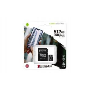 "Memóriakártya, microSDXC, 512GB, CL10/UHS-I/U3/V30/A1, adapter, KINGSTON ""Canvas Select Plus"""