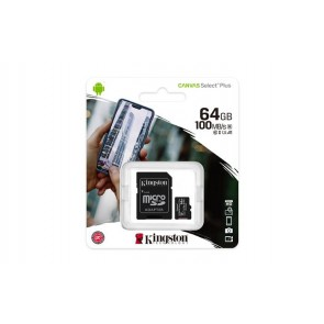 "Memóriakártya, microSDXC,64GB, CL10/UHS-I/U1/V10/A1, adapter, KINGSTON ""Canvas Select Plus"""